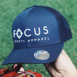 Focus White on Navy Trucker | Focus Sports Apparel