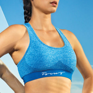 Focus Blue Script Seamless Sports Bra | Focus Sports Apparel
