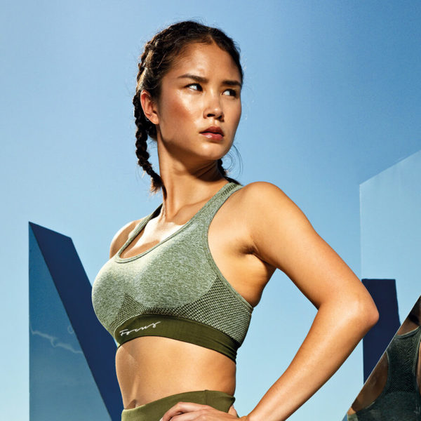 Focus Olive Script Seamless Sports Bra | Focus Sports Apparel