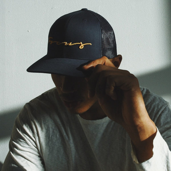 Focus Navy & Mustard Script Trucker Cap | Focus Sports Apparel