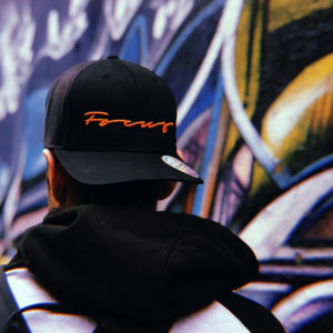 Focus Black & Orange Script Trucker Cap | Focus Sports Apparel