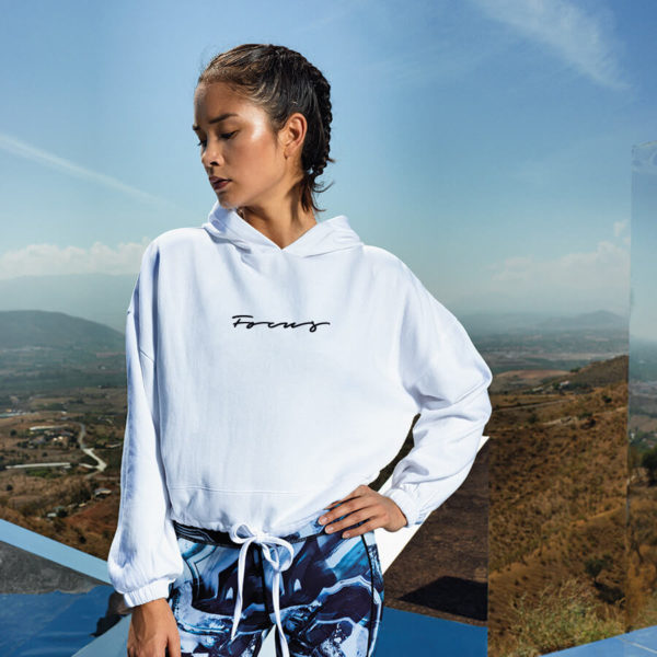 Focus White Cropped Hoodie | Focus Sports Apparel