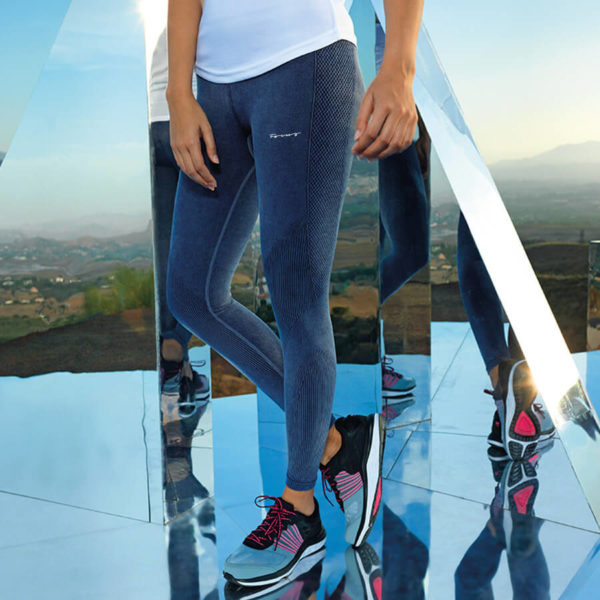 Focus Script Denim Look Leggings | Focus Sports Apparel