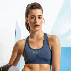 Focus Script Denim Look Bra | Focus Sports Apparel