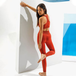 Focus Script Rust Sculpt Leggings | Focus Sports Apparel