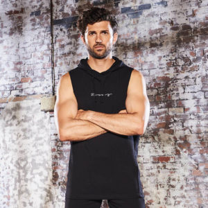 Focus Black Script Sleeveless Muscle Hoodie | Focus Sports Apparel
