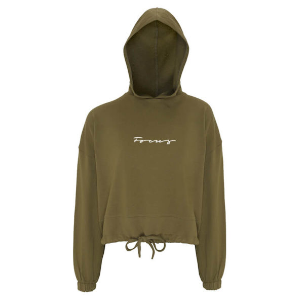 Focus Khaki Cropped Hoodie | Focus Sports Apparel