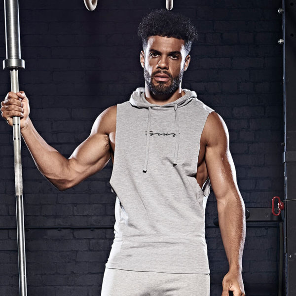 Focus Grey Script Sleeveless Muscle Hoodie | Focus Sports Apparel